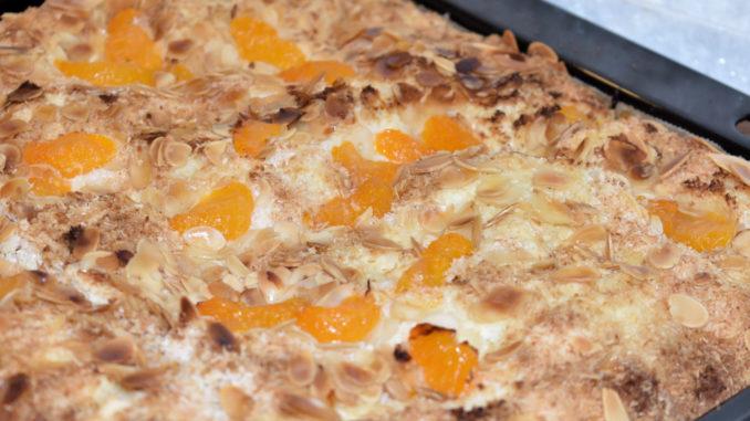 So sieht ein perfekt gebackener Blechkuchen aus! Aber nicht lange, denn die ersten Stücke davon waren ganz, ganz schnell aufgegessen... 🍽