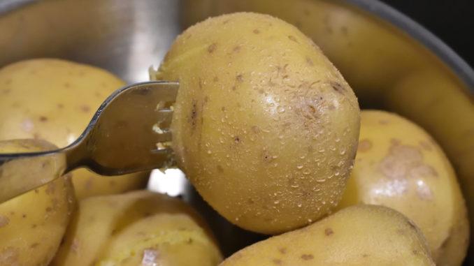 Kartoffeln im Dämpf-Kochtopf - die Kochprobe | Stich mit einer Gabel in eine große Kartoffel. Die Kartoffeln sind gar, wenn Du die Zinken mit gleichmäßigen Druck einstechen kannst.